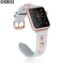 Lederen band voor apple watch band 4 correa 44mm 40mm iwatch 38mm 42mm serie 4 3 2 klinknagels armband voor apple watch Accessoires