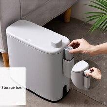 Multifunction Plastic Narrow Type Trash Can Toilet Bathroom Waste Bin Dustbin Trash bin Basket Garbage Bucket Brush Cleaning
