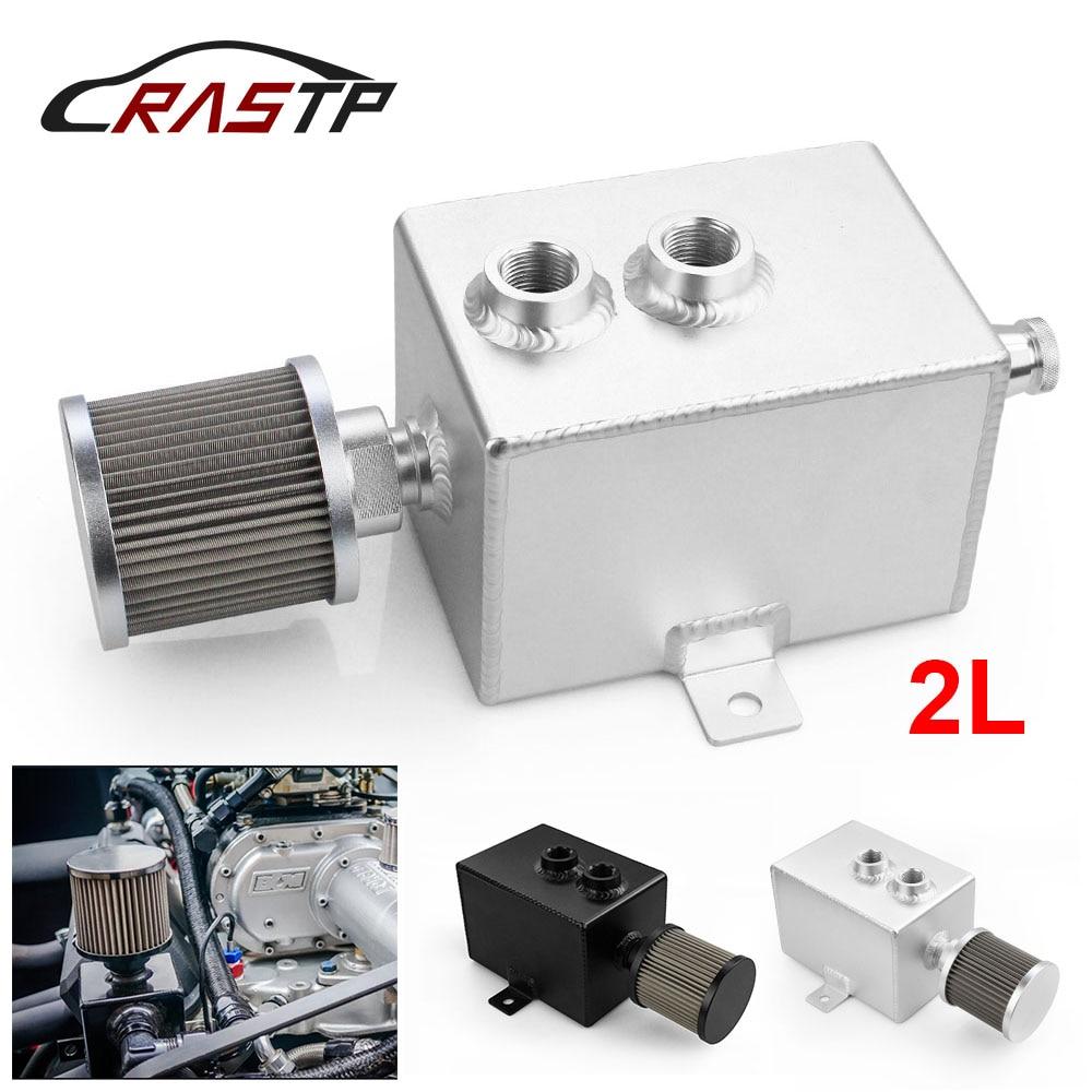 Ractp-universal 2L aluminio Aceite Catch Can tanque de depósito + filtro de ventilación Drain Tap AN10 INLETS D5 RS-OCC010