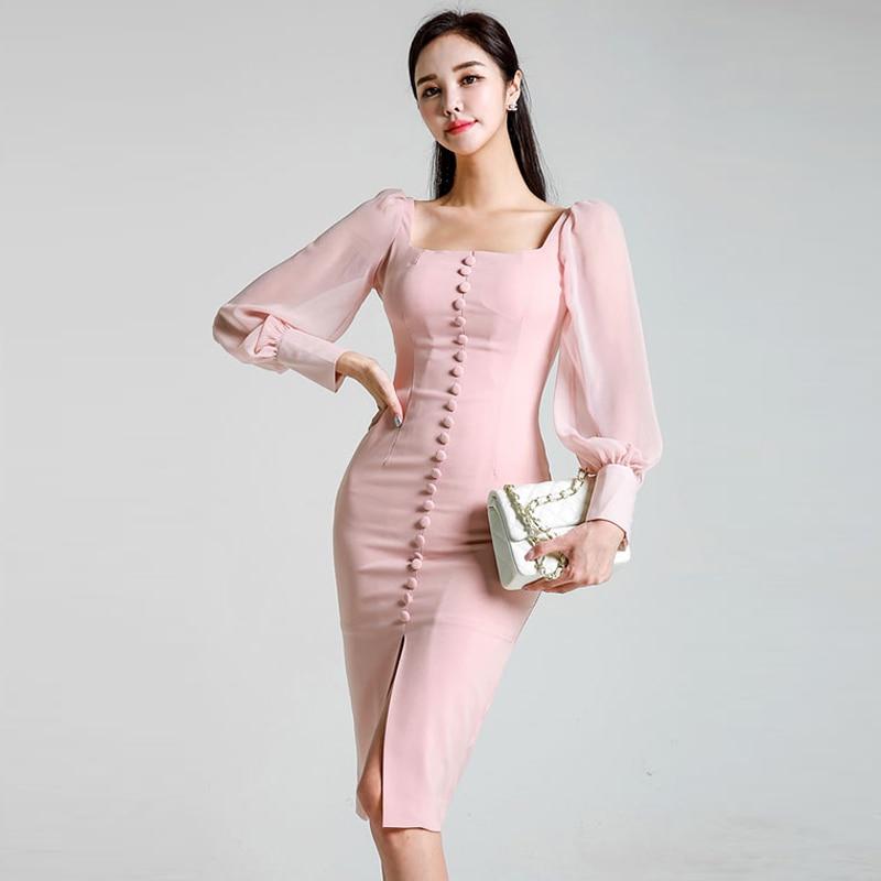 Vintage Square Collar Chiffon Patchwork Women Dress Lantern Sleeve Front Split Midi Patry Dress femme Hip Package Sexy Vestidos