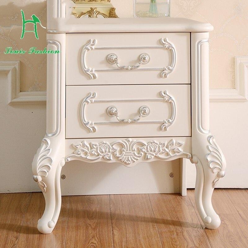 Oferta especial, mesita de noche sencilla de madera maciza para dormitorio, montaje francés, armarios de pintura tallados modernos europeos de color blanco marfil