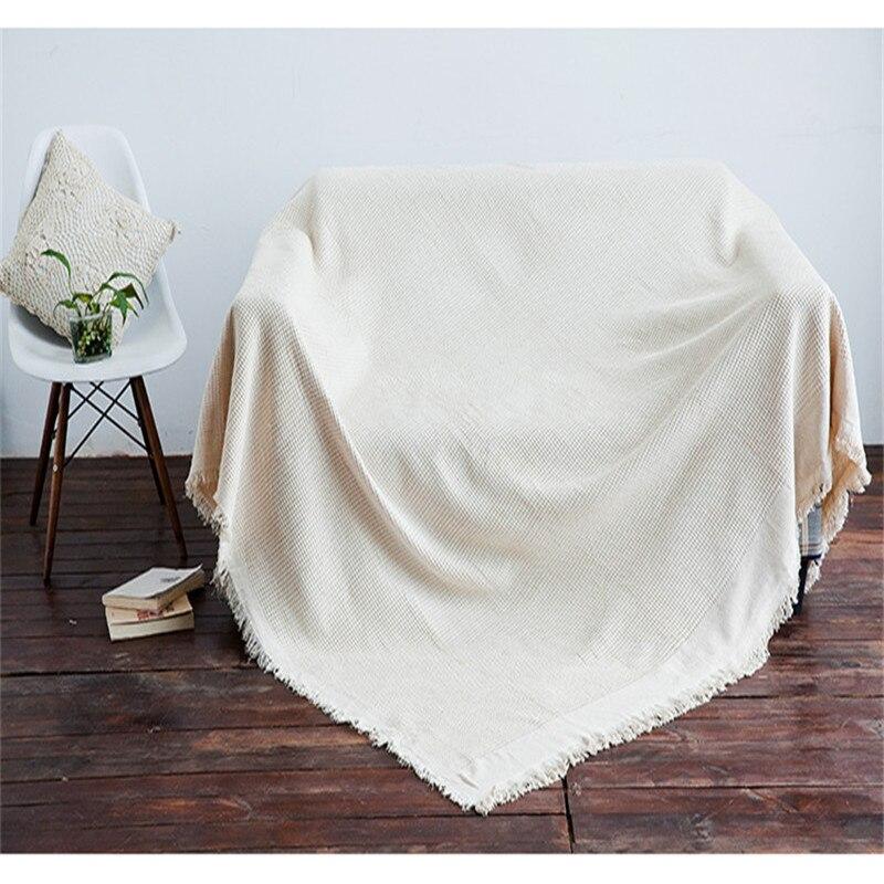 Sofá Beige toalla manta sofá seccional cubierta de algodón politester asiento de punto funda de cojín sofá funda de cama decoración del hogar