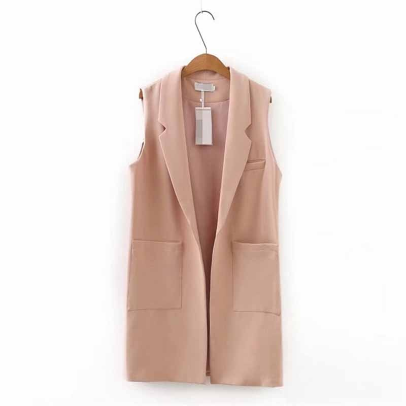 زائد حجم XXL-5XL أكمام سترة سترة النساء 2019 الربيع الأزياء الصلبة اللون colete كبيرة جيب سترة عارضة قمم الإناث G56