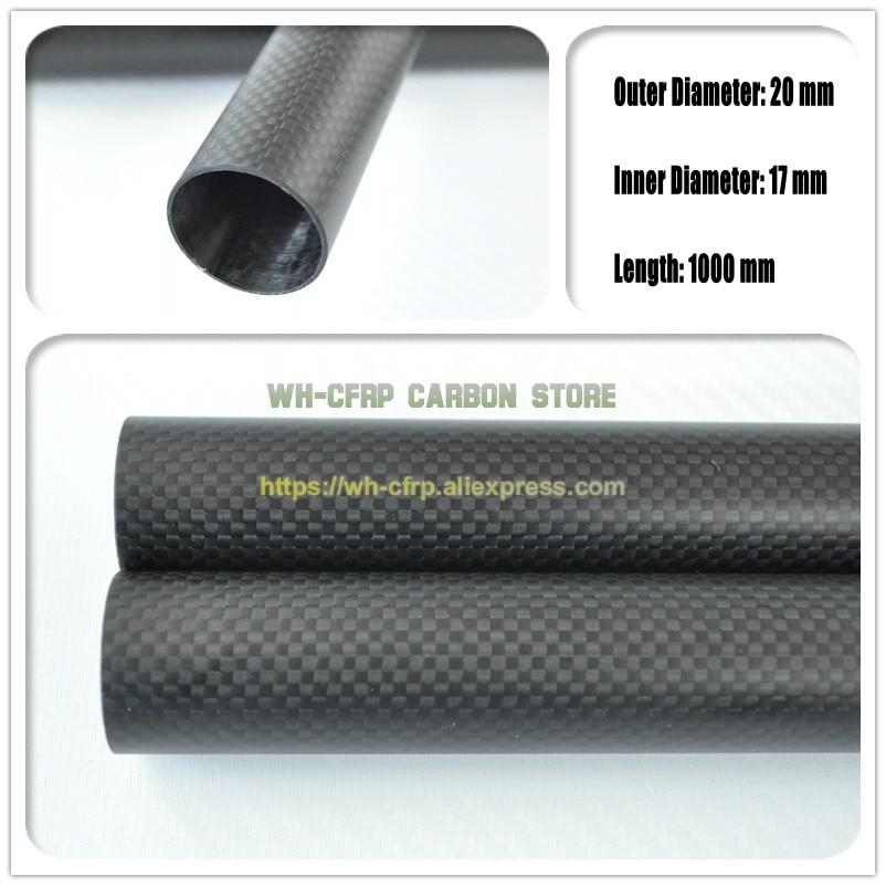 20mm ODx 17mm ID tubo de fibra de carbono 3k 1000MM de largo (rollo envuelto) Tubo de carbono, con 100% carbono completo, Japón 3k mejorar el material
