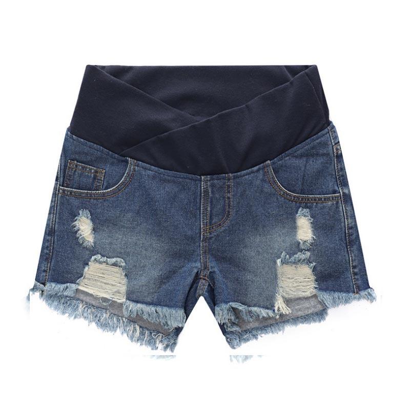 Mulheres grávidas roupa de maternidade de cintura baixa denim jean buraco shorts prop barriga cintura elástica gravidez shorts gravidas verão