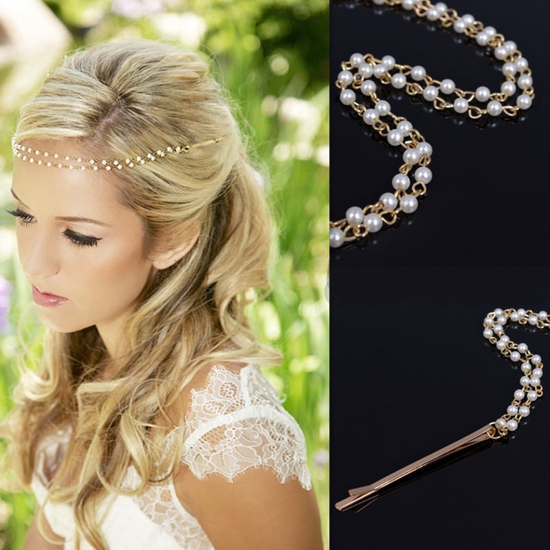 Las mujeres nuevo accesorios para el cabello de boda Simple estética de cuentas de perlas hecha a mano accesorios para el cabello diadema envío gratis