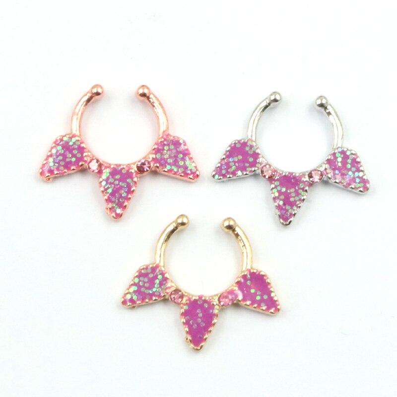30 piezas de piercing de nariz de esmalte rosa de plata y oro rosa anillo de Nariz de septo falso aro de nariz de imitación piercing nez anneaux