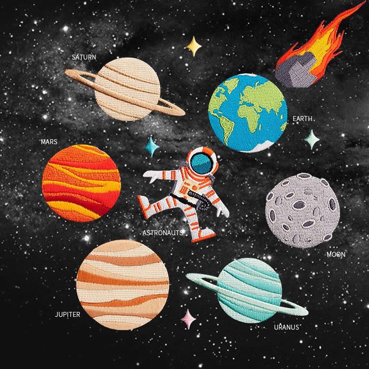 Universo serie Planet astronauta la tierra meteorito Luna Marte Júpiter Saturno Urano paño bordado broche DIY parche adhesivo