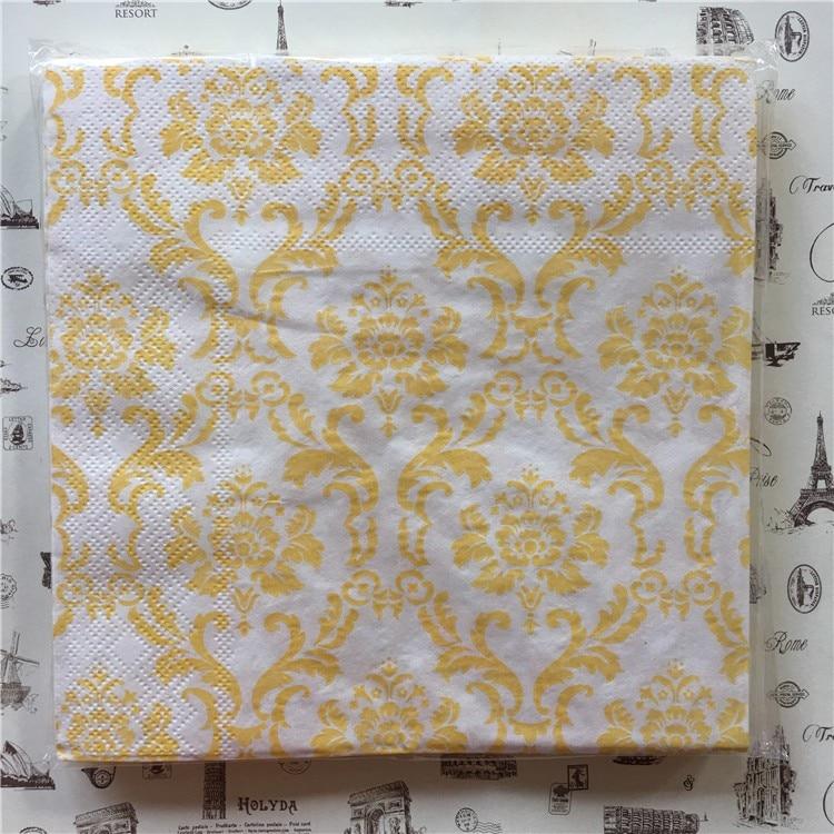 20 servilleta retro de papel con estampado de flor amarilla, pañuelo en azul, blanco y negro, decoración para bodas y fiestas de cumpleaños