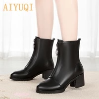 aiyuqi 2021 genuine leather black booties women boots warm short plush snow boots high heeled martn boots women