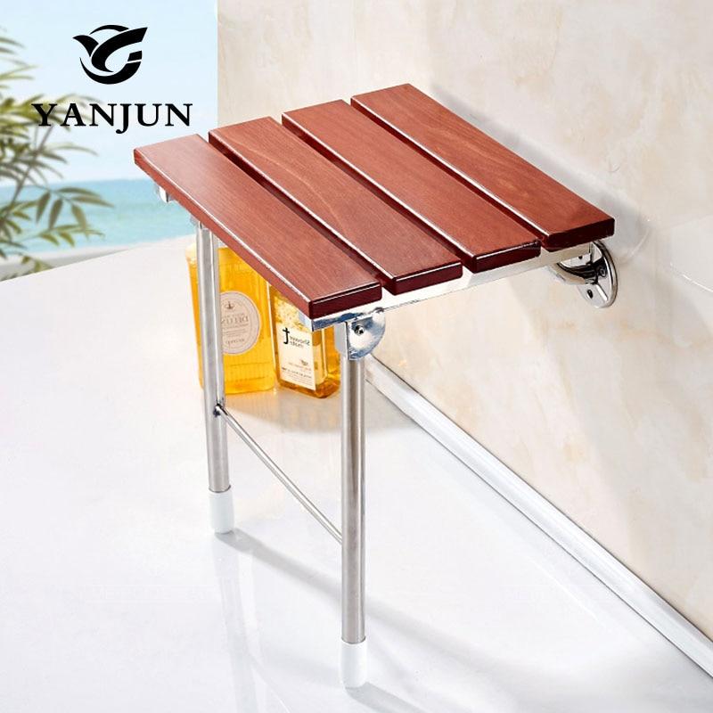 Складное сидение для душа YANJUN, деревянное, настенное, релаксационное, для спа-салона, скамейка, экономичная, для ванной комнаты, YJ-2058