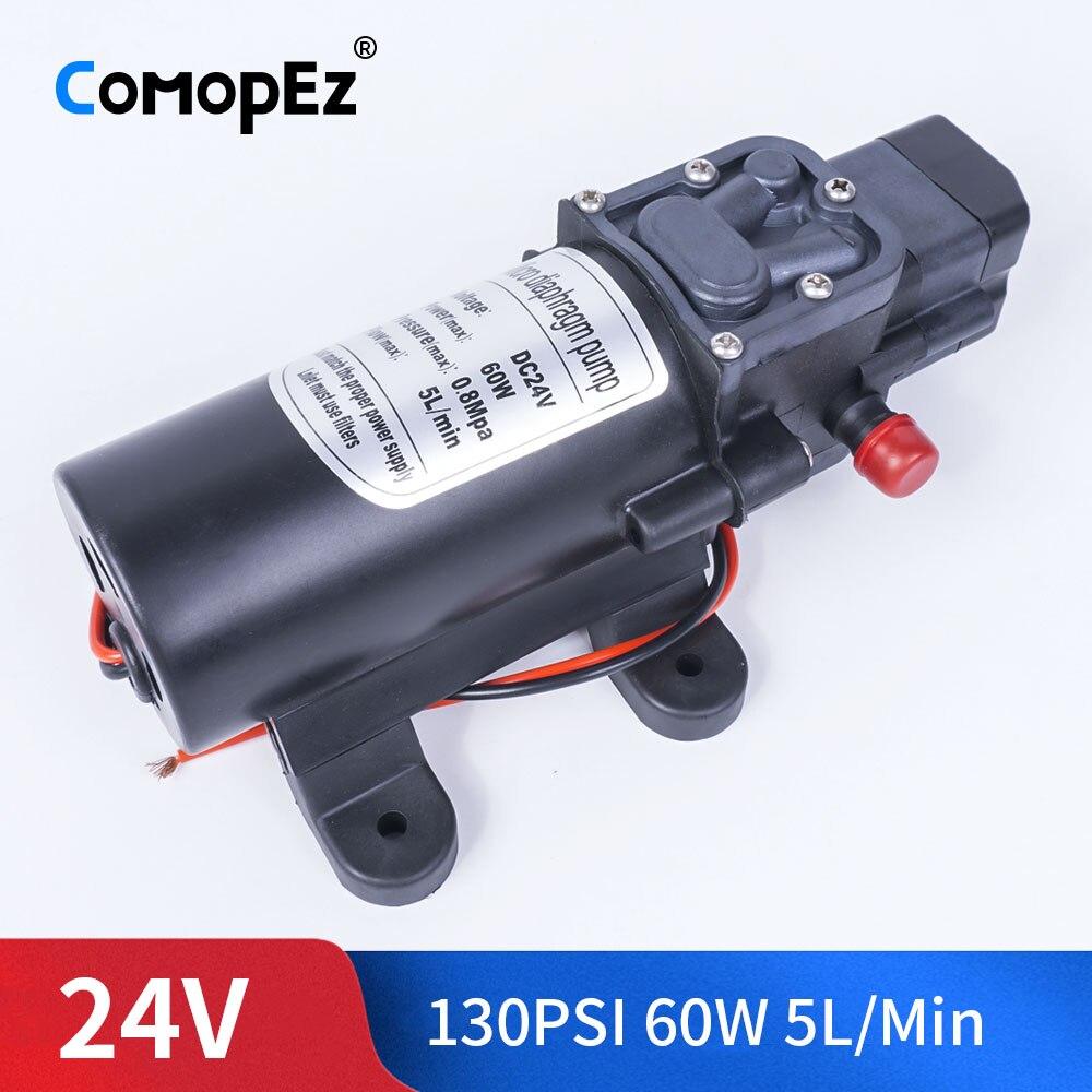 Bomba de diafragma de agua de alta presión 24V DC 60W 130PSI 5L/Min bomba autocebante interruptor automático para Carro de jardín