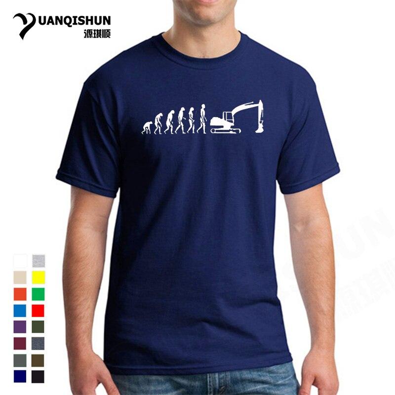 16 colores 100% algodón evolución camiseta excavadora construcción vehículo máquina oruga construcción trabajador Hobby camiseta