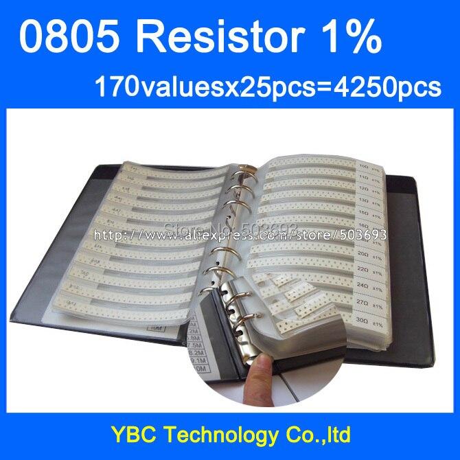 Envío Gratis 0805 SMD resistencia muestra libro 1% de tolerancia 170valuesx25 piezas = 4250 piezas Kit de resistencia de 0R ~ 10 M