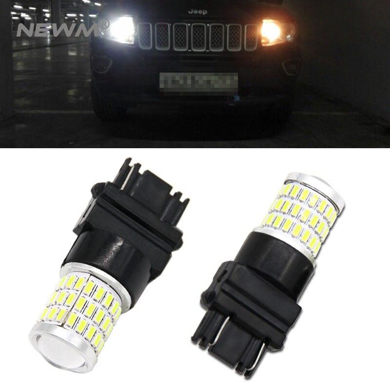 Xenon branco 57-smd 3157 3357 3457 4114 3156 t25 lâmpadas led para 2011-up jeep compass para luzes diurnas