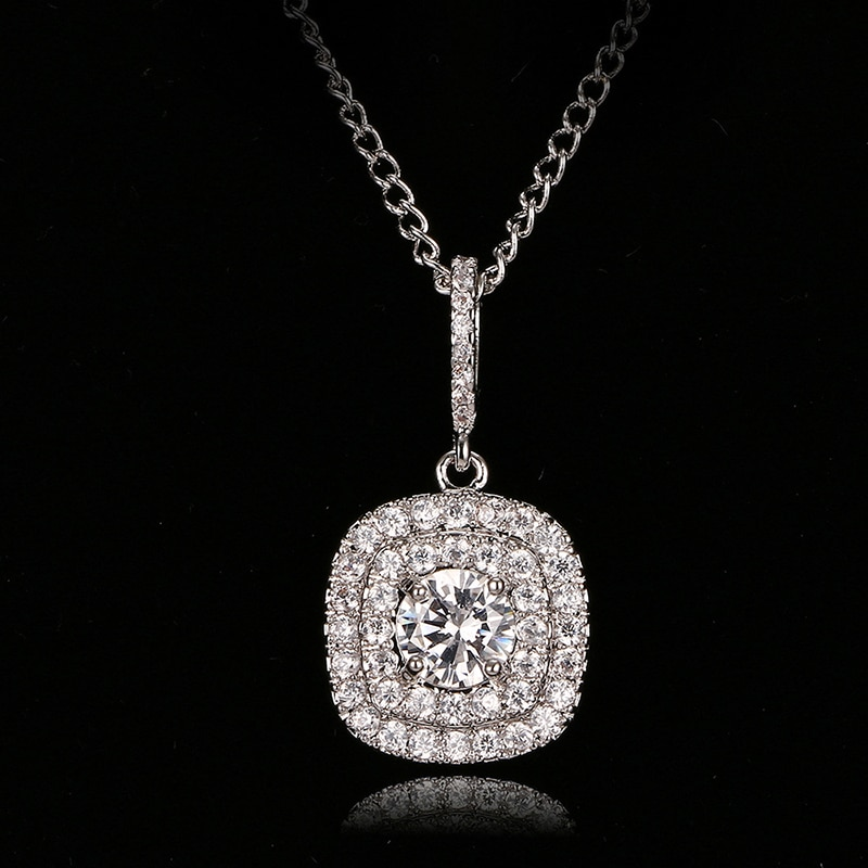 Emmaya Mode Zirkon Halsketten & Dazzling Weiß Gold Farbe Anhänger Halskette Für Frauen Geschenk Hochzeit Party