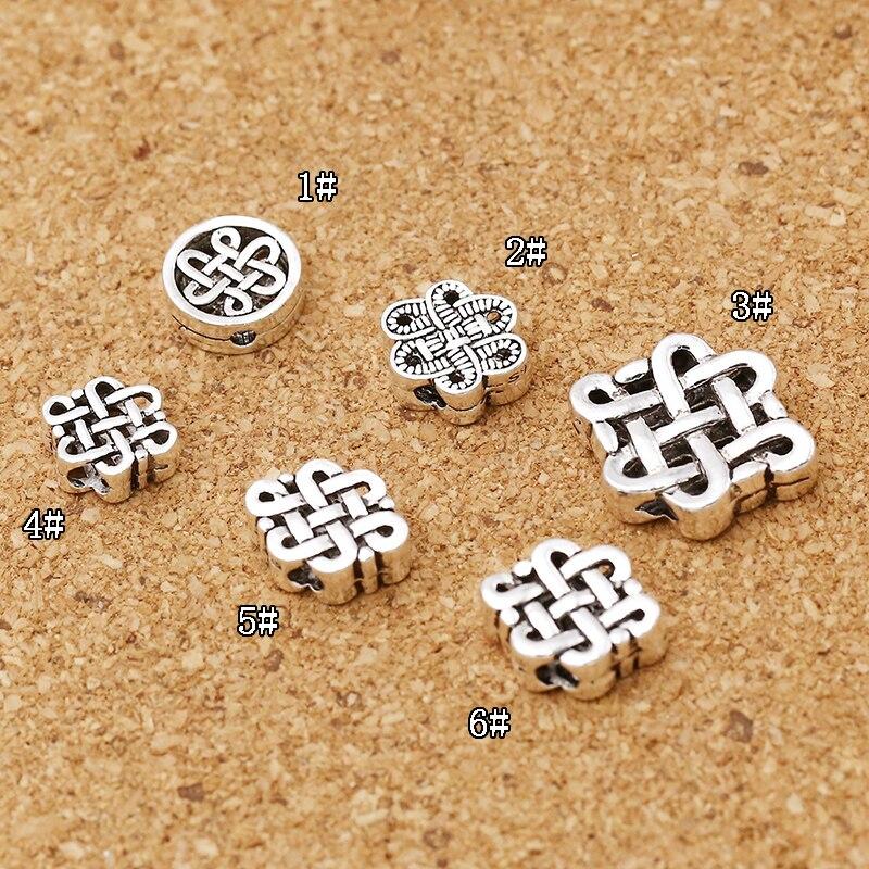 100% 925 Silver Tibetan Mala's Beads Sterling Lucky Symbol Beads Buddhist Prayer Mala's Amulet Tibetan Endless Knot Beads