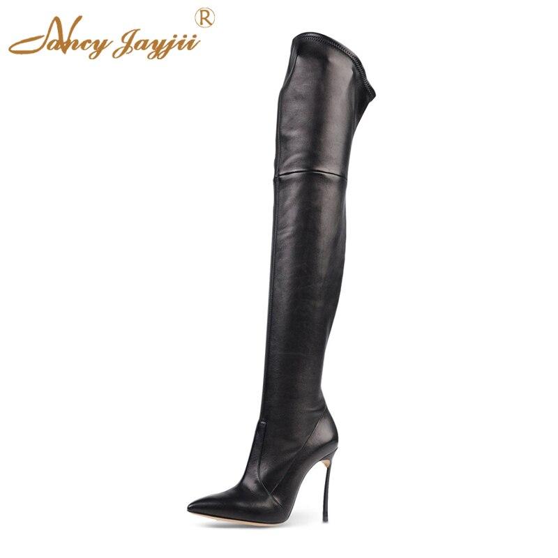 Cuero genuino de las mujeres de moda negro Pleather puntera tacones altos Sobre las botas de rodilla zapatos de mujer Slip-on Sexy primavera 2019