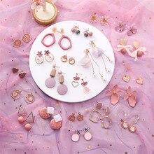Mignon rose fleur géométrique acrylique goutte boucles doreilles pour les femmes mode Simple doux goutte glaçure fille femelle boucles doreilles cadeaux bijoux