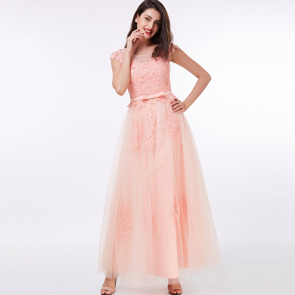 Dressv فستان سهرة طويل وردي رخيصة مغرفة الرقبة يزين حفل زفاف فستان رسمي خط فساتين السهرة