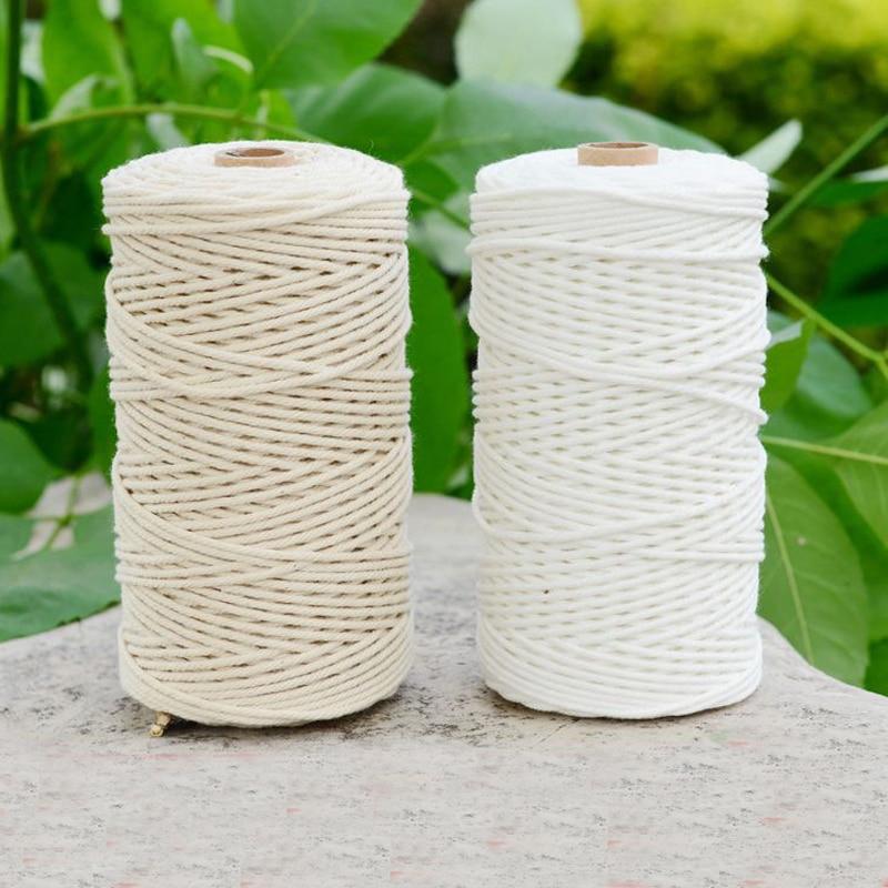 Durable 200m cordón de algodón blanco Natural Beige trenzado cordón artesanía de cuerda Cordón de macramé DIY hecho a mano hogar decorativo suministro 3mm