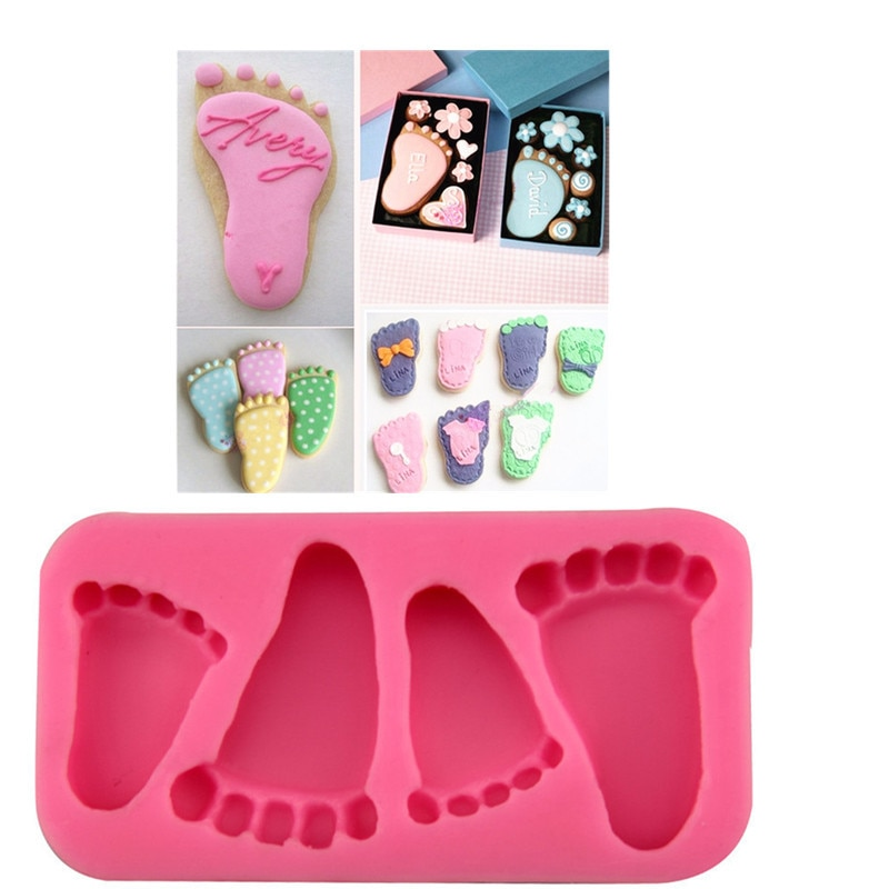 1 st Baby Voeten Vorm Cakevorm Siliconen Voeten Fondant Chocolate Candy Jelly Decoratie Fondant Mould Leuke Kind Voet Mallen