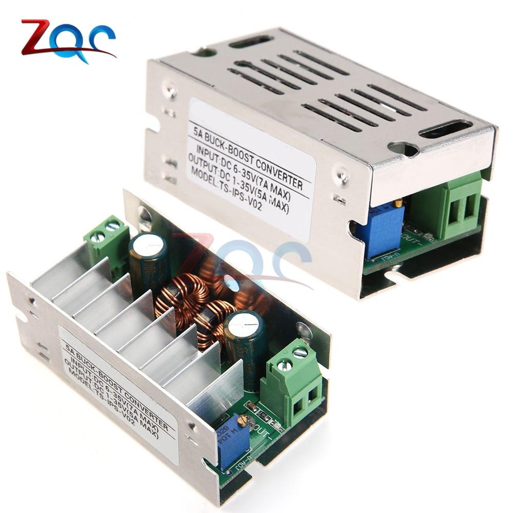 5A DC 6-35V 12V 24V Auto Boost Buck Step Up Down Converter Module adjustable power supply Voltage Regulator With Aluminum Case