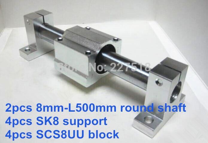 8mm linear set: 2pcs 8mm - 500mm linear round shaft + 4pcs SK8 shaft support + 4pcs SCS8UU linear bearing block