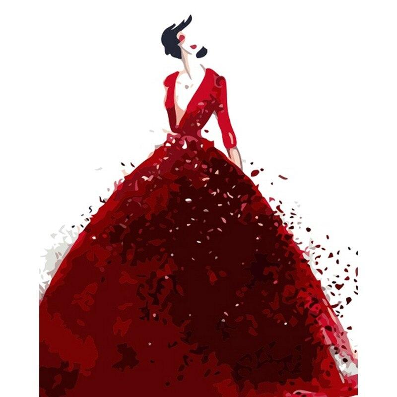 Абстрактное красное платье девушка фигура DIY Цифровая живопись по номерам Современная Настенная живопись холст уникальный подарок домашни...