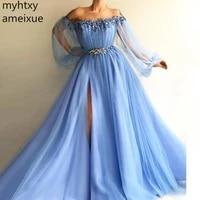 blue muslim evening dresses 2020 sexy long sleeves tulle slit pearls islamic dubai saudi arabic long formal evening gown prom