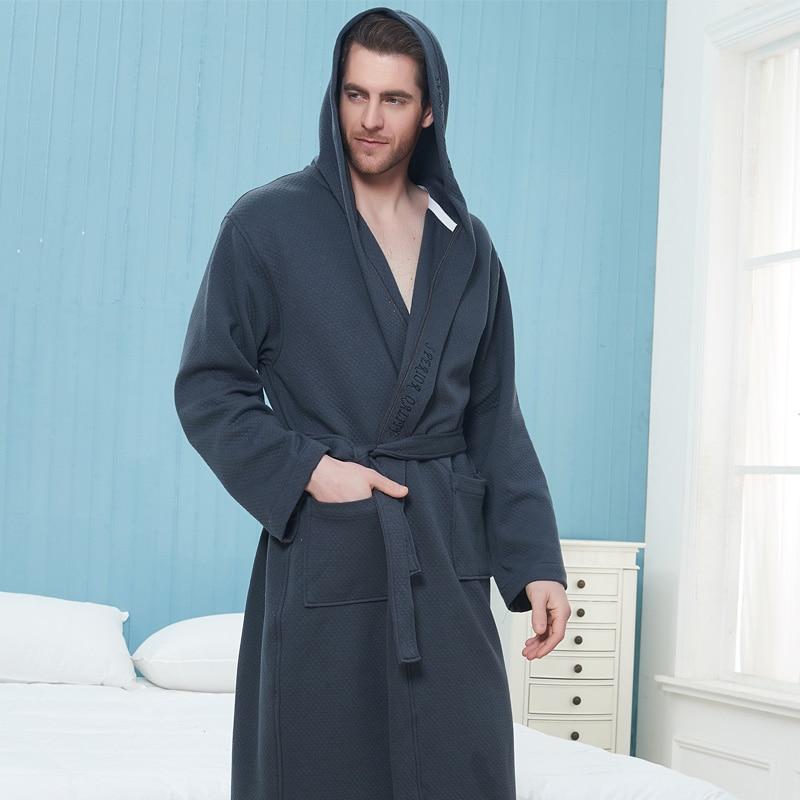 Winter Thickening Warm Flannel Hooded Bathrobe Men 100% Cotton Gown Kimono Bathrobe Male Sleepwear Nightgown Homme Autumn Winter недорого