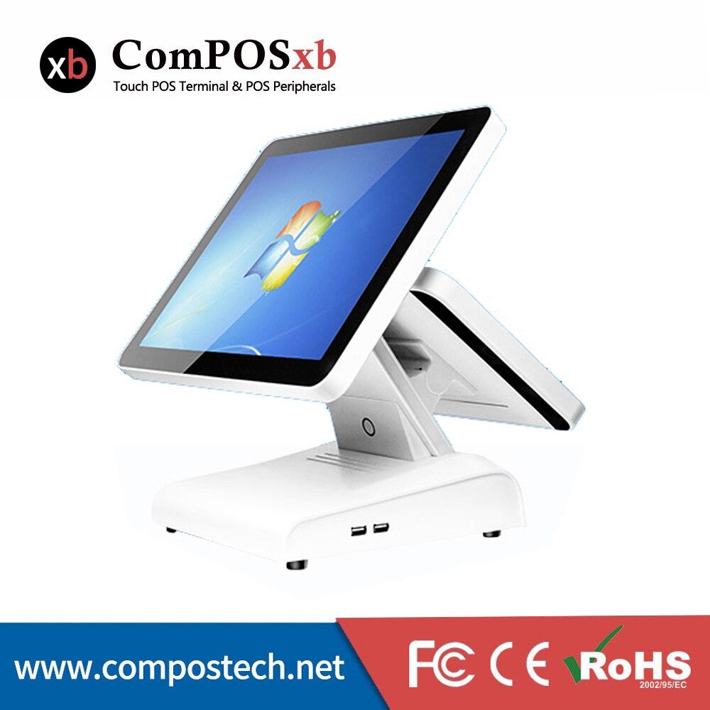 مُسجل نقود بشاشة مزدوجة مقاس 15 بوصة ، بشاشة نقية ، الكل في واحد ، كمبيوتر ، windows ، pos