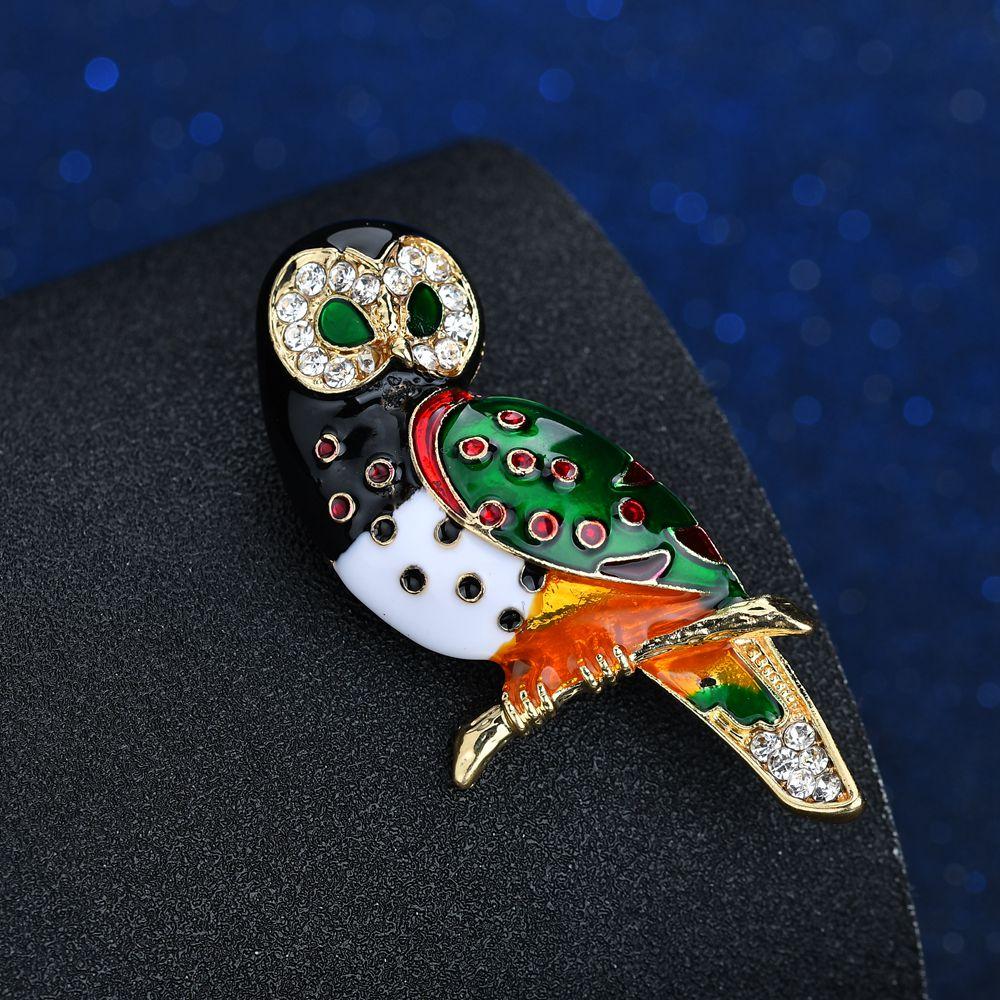 Terreau kathy bonito olhos verdes coruja broche usar óculos moda esmalte pino animal broche bom presente para crianças e mulheres ano novo