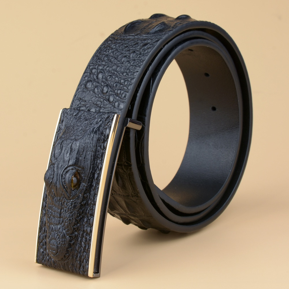 YIFEI man Real Cow skin Wide girdle for Jeans Men belts Luxury Genuine leather 3D Crocodile designer Automatic buckle Belt