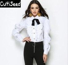 Female Peter pan Collar Bow Ruffles Vintage Elegant Office Work Shirts Blouses Tops Lady Fashion White Shirt Clothing
