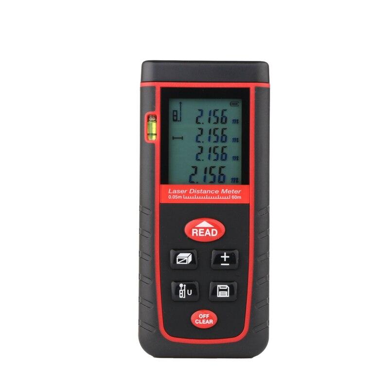 60 m medidor de distância a laser 192ft digital lcd rangefinder range finder com nível bolha distância área volume fita medida ferramentas