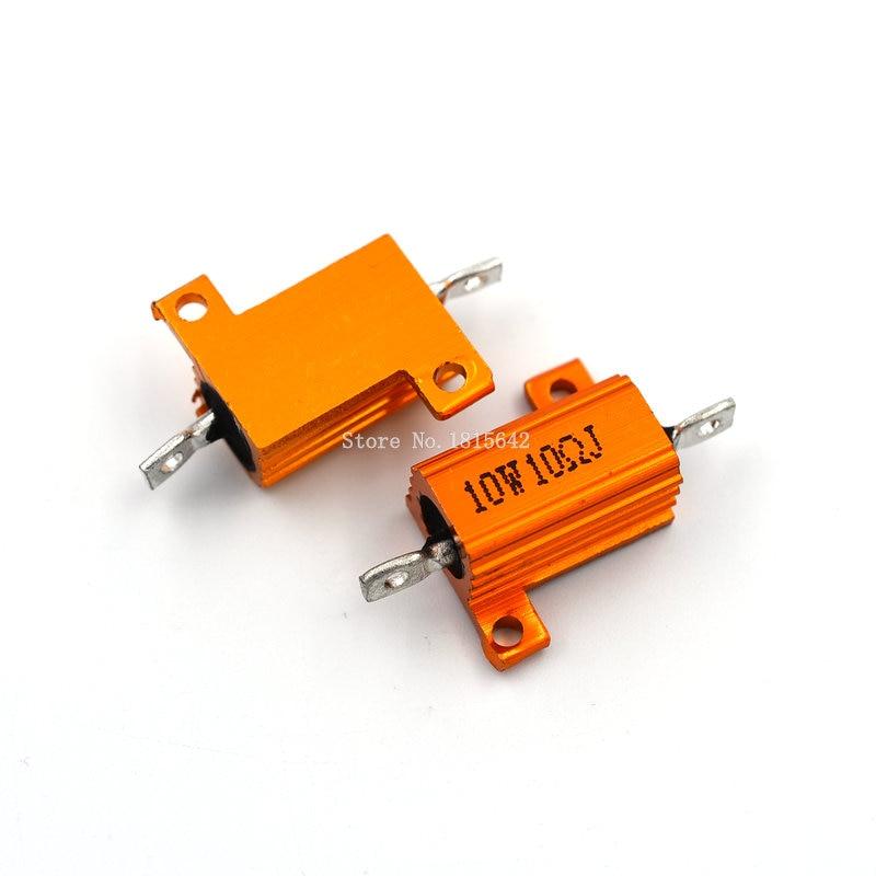 2PCS RX24 10W 10R 10RJ Wire Wound Resistor Metal Shell Aluminium Golden Resistor 10Watt 10 ohm Heatsink Resistance