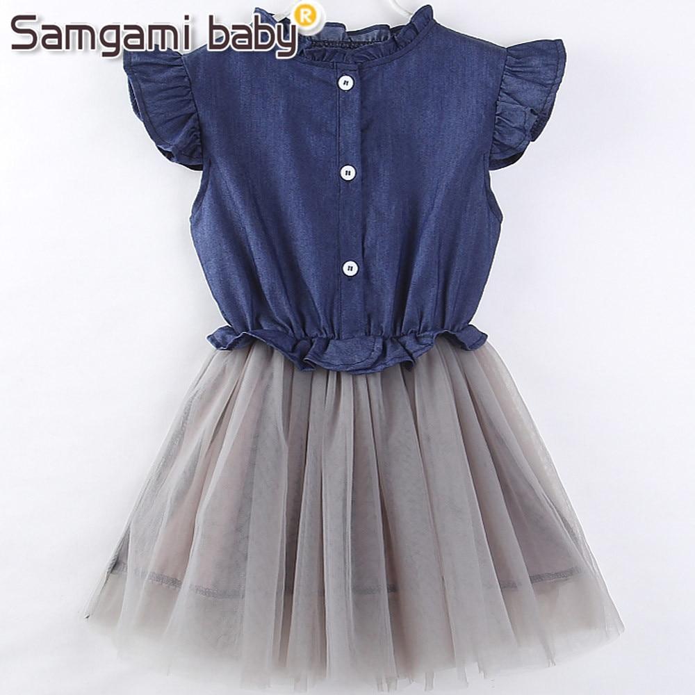 SAMGAMI, vestido para niñas pequeñas, ropa de verano para niñas, sin mangas, vestido de retales de princesa de malla vaquera, vestidos para niños, tamaño 2-7Y