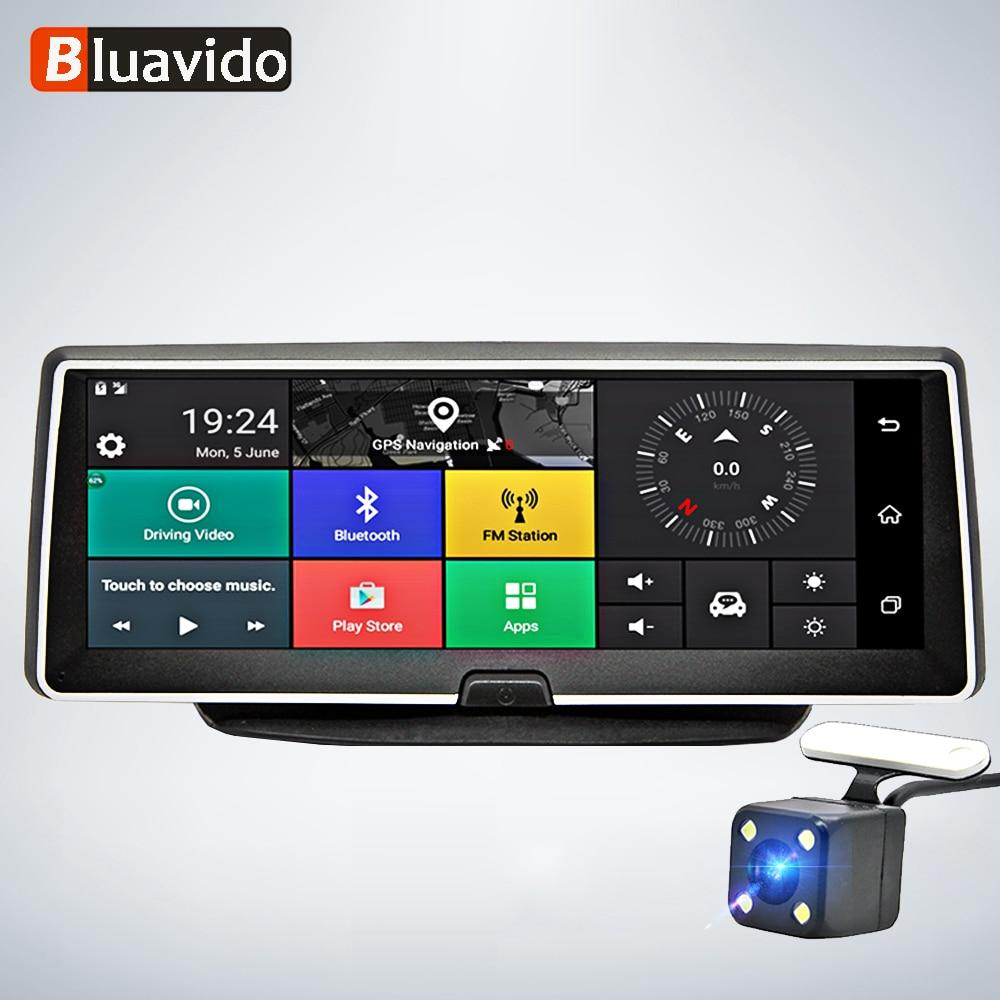 Bluavido 8 Inch car dash camera 4G Android GPS Navigation ADAS FHD 1080P car dvr video Recorder Night vision Parking monitor