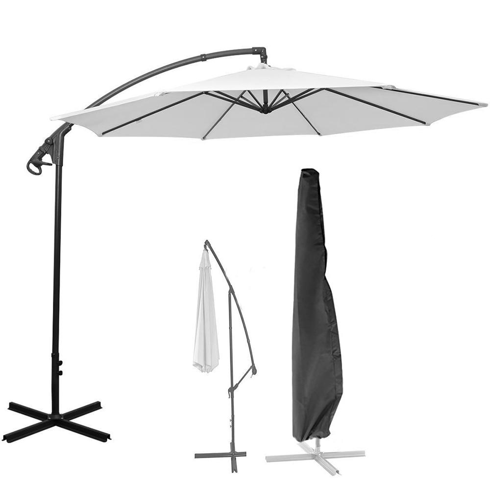De poliéster impermeable al aire libre Banana cubierta paraguas jardín resistente a la intemperie Patio parasol voladizo cubierta de la lluvia Accesorios negro