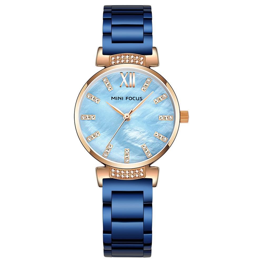 ضوء الفاخرة الماس السيدات ساعة الموضة جولة السلاحف الصلب مشبك الكوارتز Fritillaria الصلب قطاع مقاوم للماء ساعة الإناث