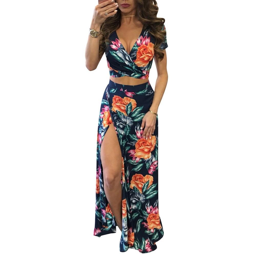 YJSFG HOUSE Elegant Women Summer Long Skirt Set Sexy Hollow Out Crop Top Skirts Floral Print 2 Piece Set Bandage Beach Dress