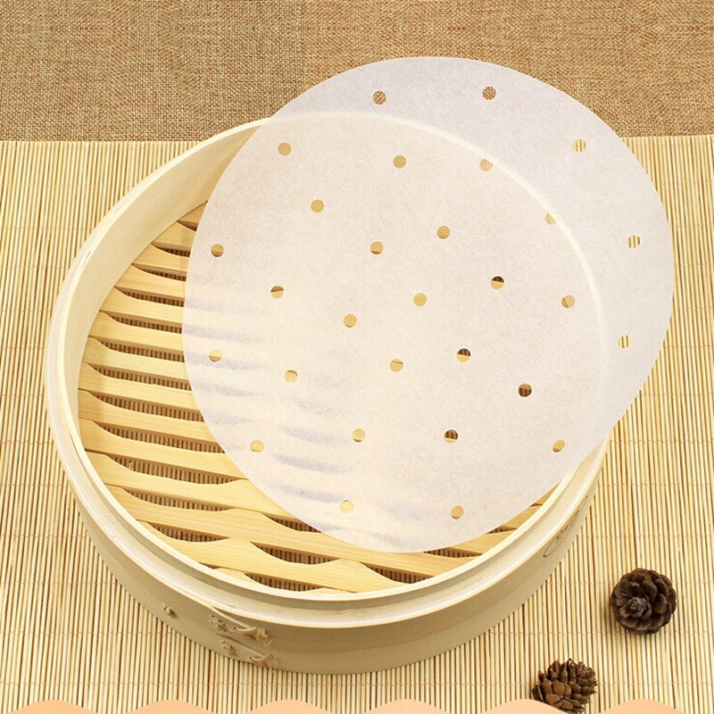 Papel de cocina práctico de 6/7/8/9/10 pulgadas vaporizador de bambú dim sum Paper antiadherente restaurante cocina bajo estera para cocinar al vapor al por mayor