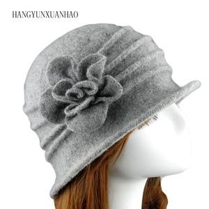Winter Elegant Female Wool Fedoras 100% Wool Hats For Women Girls Charming Floral Floppy Hat Casual Warm Mom Hats Autumn