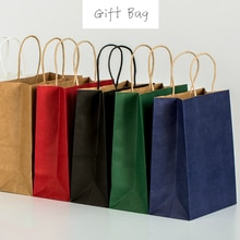 45 adet moda kraft kağıt hediye çantası kolu/alışveriş çantaları noel kahverengi ambalaj çantası 21X15X8cm