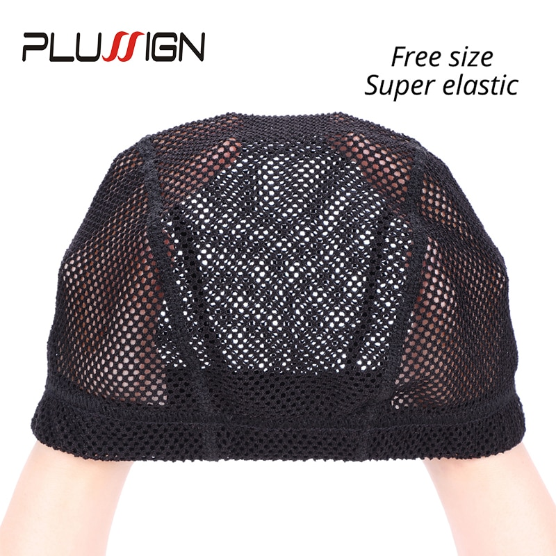 Plussign Soft Crochet Wig Cap Thick Mesh Dome Cap New Wig Caps For Making Wigs Big Hole Hair Net 1Pcs/Lot Can Stretch Free Size