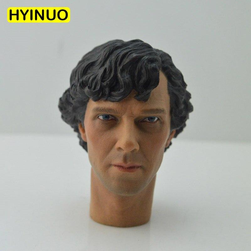 "1/6 escala Detective Sherlock Holmes bendición rizada Benedict Cumberbatch cabeza esculpir Headplay para 12 ""cuerpo de figura de acción"