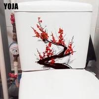 YOJA     autocollant mural a encre classique  branche de fleur de prunier  a la mode  decor de siege de toilette  pour la maison  T1-1413