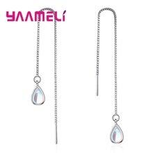 Solid 925 Sterling Silver Long Dangle Popular Water Drop Earrings for Women Girls Piercing Crystal Jewelry Wholesale