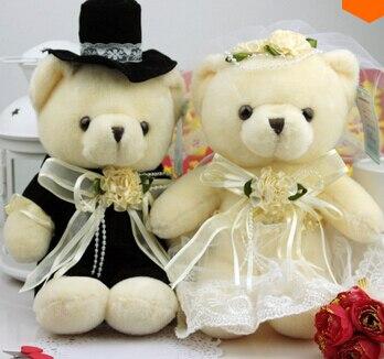 20cm 2 pçs/lote Bonecos de Pelúcia Casal de Casamento Ursos de Pelúcia para As Crianças Presentes Brinquedos de Pelúcia
